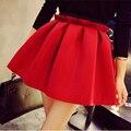 Envío gratuito de algodón espacio de talle alto péndulo plisada moda vintage women falda 2016 marca falda falda corta falda plisada