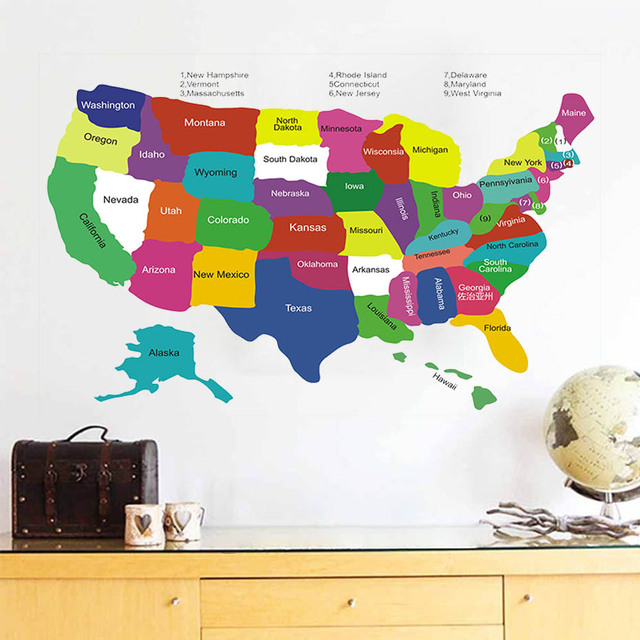 Kids Usa Map.Colorful Usa Map Wall Sticker United States Of American Wall Decals