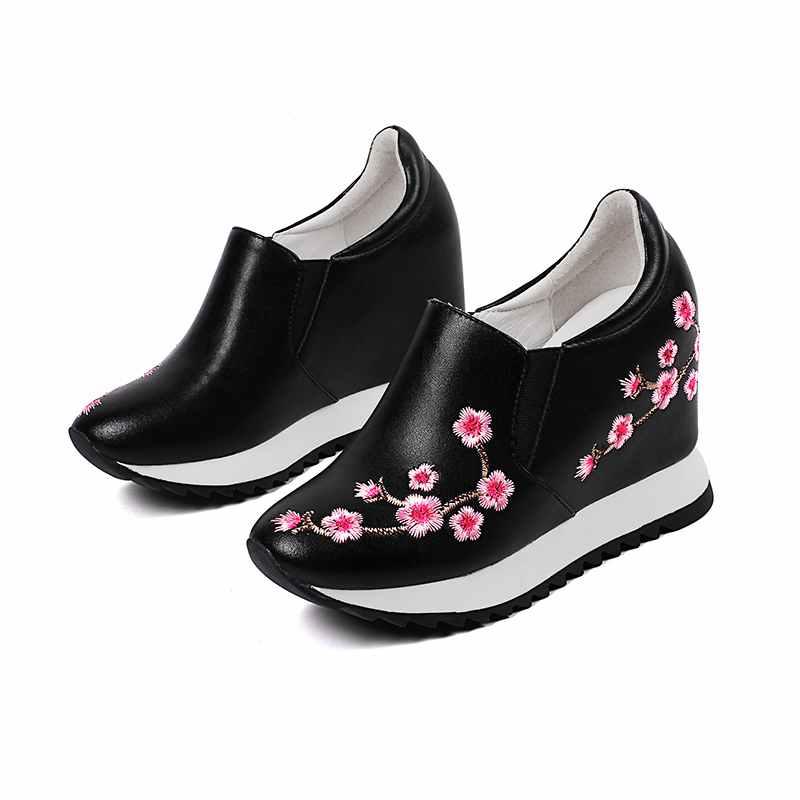 Krazing Automne Cuir Bout Augmenté Vulcanisé Sur Printemps Lff3 Rond Art Fleurs Noir Pot Conception blanc Glissement Originale Chaussures Coins Véritable 3j5L4RA