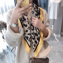 Good Quality NEW square silk scarfs for women leopard printed neck scarves European-style foulard Handkerchiefs shawls