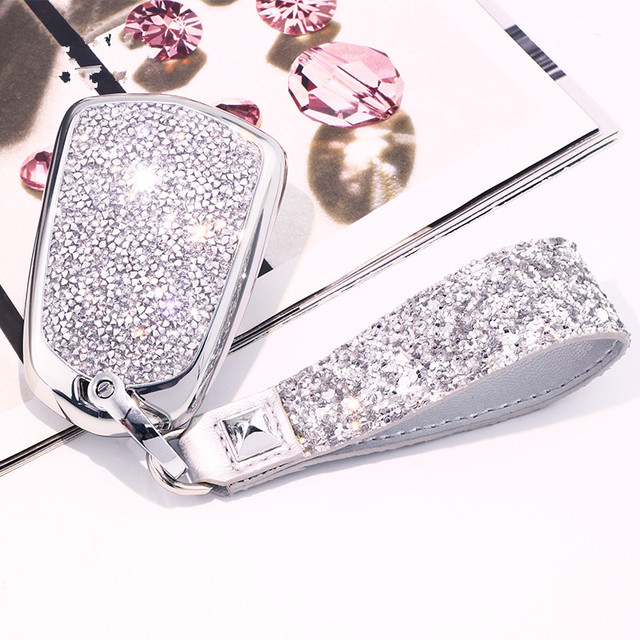 Artificial Crystal key case cover Key case protect shell holder for Cadillac ATS CT6 CTS DTS XT5 Escalade ESV SRX STS XTS ELR