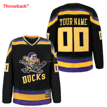цена на Throwback Jersey Men's Duck Ice Hockey Jerseys Customized Name Number Colour White Green Black Size S-XXXL Free Shipping