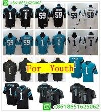 73216688e Youth s Carolina 22 Christian McCaffrey 1 Cam Newton 59 Luke Kuechly 88  Greg Olsen Game Color Rush Football jerseys