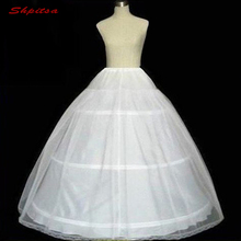 White Ball Gown 3 Hoops Petticoat for Wedding Dress Fluffy Crinoline Woman Underskirt Girls Hoops Skirt Pettycoat