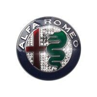 2pcs silvery Color 74mm 7.4cm for ALFA ROMEO giulietta Stelvio diamond Car Logo emblem Badge sticker for Mito 147 156 159 166