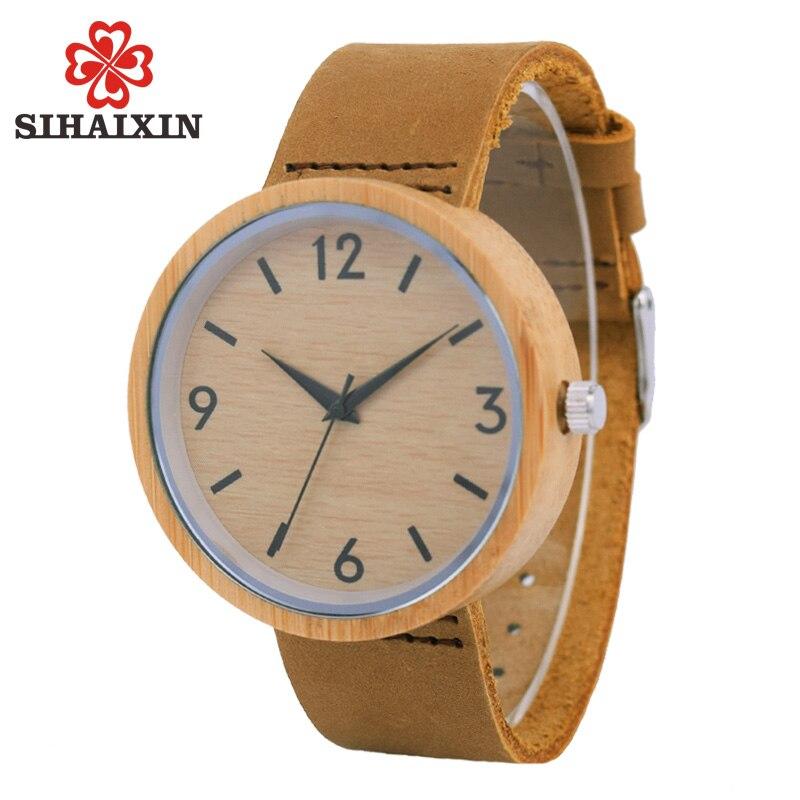 Wood Watch Clock Leather-Band Criativa Gifts Quartz Fashion Mens Luxury Bamboo Hardlex