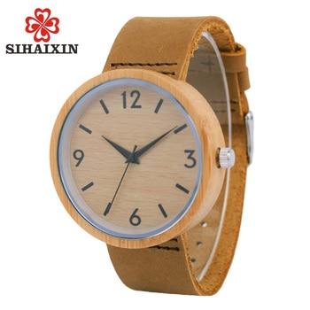 Gỗ đồng hồ người đàn ông hardlex 2017 da bò chính hãng ban nhạc da thạch anh sang trọng tre đồng hồ bằng gỗ mens criativa thời trang quà tặng đồng hồ