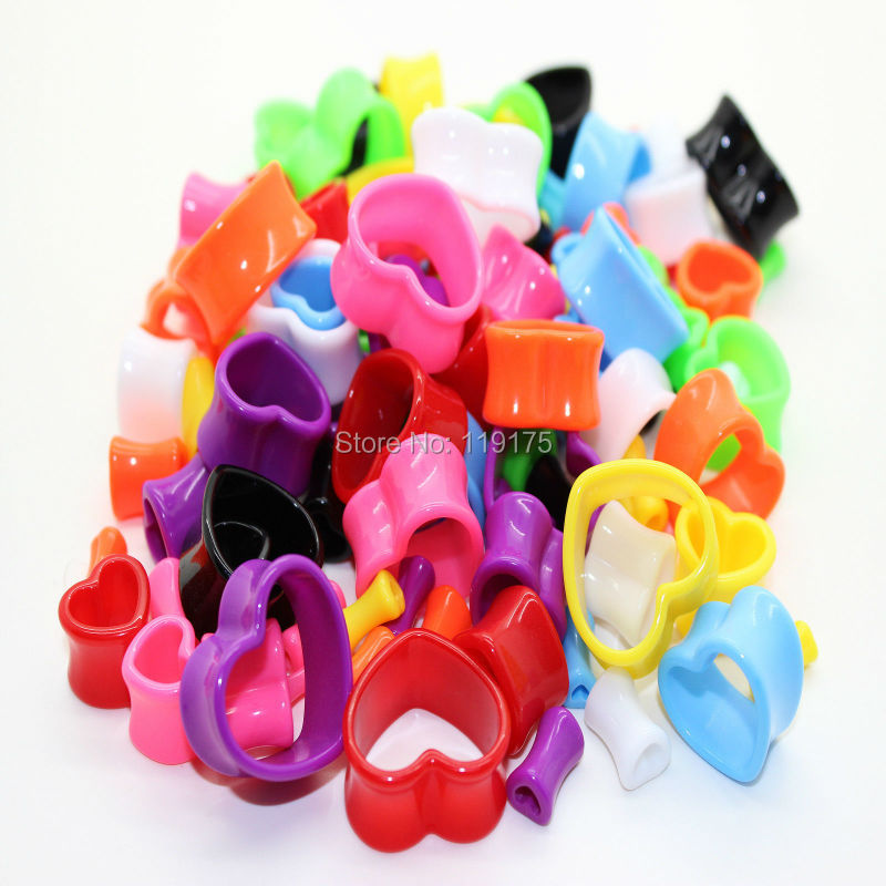 Acrylic Heart Flesh Tunnel Ear Stretcher Expander Ear Plug Gauge Body Piercing Jewelry Mix Color , 80pcs/lot