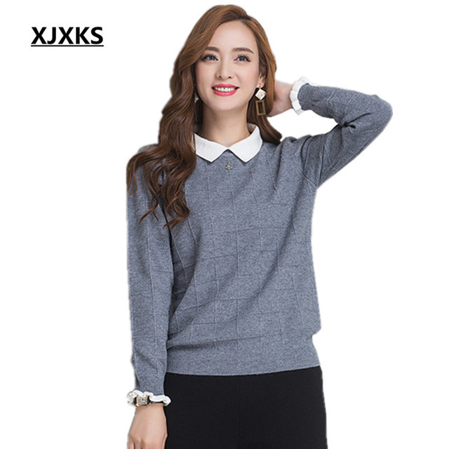 XJXKS Cashmere Autumn and winter hedging women loose long-sleeved solid  color 57aed56d5