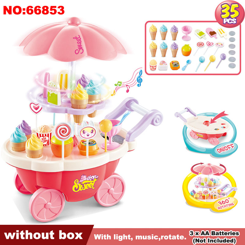 Pretend Play Toys Kids Simulation Candy Ice Cream Trolley Mini Pusher Car Toys Candy Ice Cream Supermarket Music Children Gifts