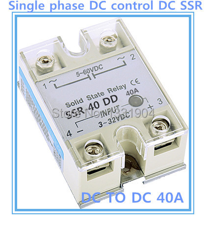 Free shipping 10pcs/lot  Single phase solid state relay DC control  DC SSR-40DD 40A SSR relay input 5-60V DC output 3-32V DC 20dd ssr control 3 32vdc output 5 220vdc single phase dc solid state relay 20a yhd2220d