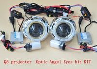 GZTOPHID h4 Koito q5 Bifocal Projector Lens Using D2H Xenon Bulb with 35w HID ballast,Optic Light Guide Angel Eyes and Shroud