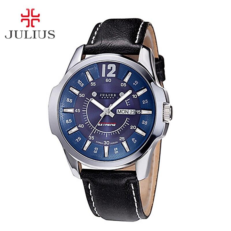 Top Julius Men's Homme Wrist Watch Auto Date Fashion Hours Dress Sport Retro Leather Student Boy Birthday Christmas Gift