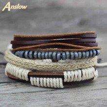 Anslow 2017 Handmade DIY Adjustable Vintage Retro Wrap Multilayer Leather Bracelet For Men Unisex Wristhand Accessory LOW0281LB