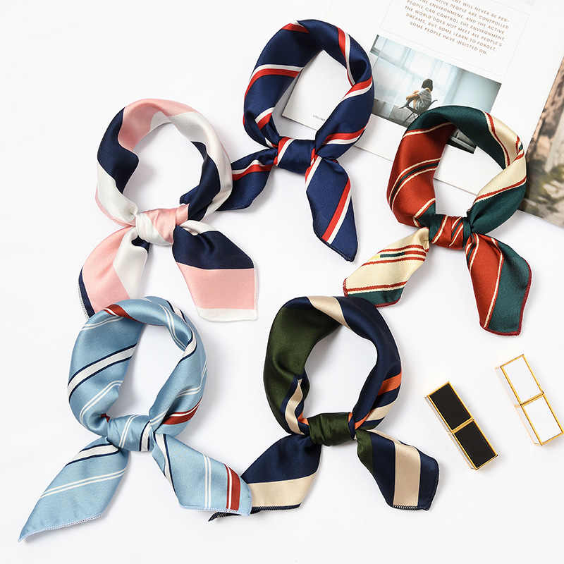 Free Shipping Summer Scarf for Women Hair Scarf Handbag Chiffon Headband Scarves Floral Square Bandana Men Pocket Satin Scarves