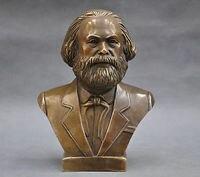 Old 7'' German Great Communist Carl portrait Marx Engels Lenin Stalin Marx Bust BRASS Statue decoration brass factory outlets