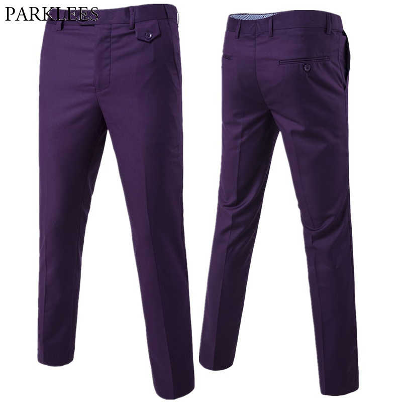 Purple Slim Fit Straight Dress Pants Men 2019 Brand New Formal Office Flat-Front Trousers Mens Business Wedding Suit Pants Male