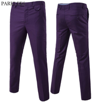 Purple Slim Fit Straight Dress Pants Men 2019 Brand New Formal Office Flat Front Trousers Mens Business Wedding Suit Pants Male