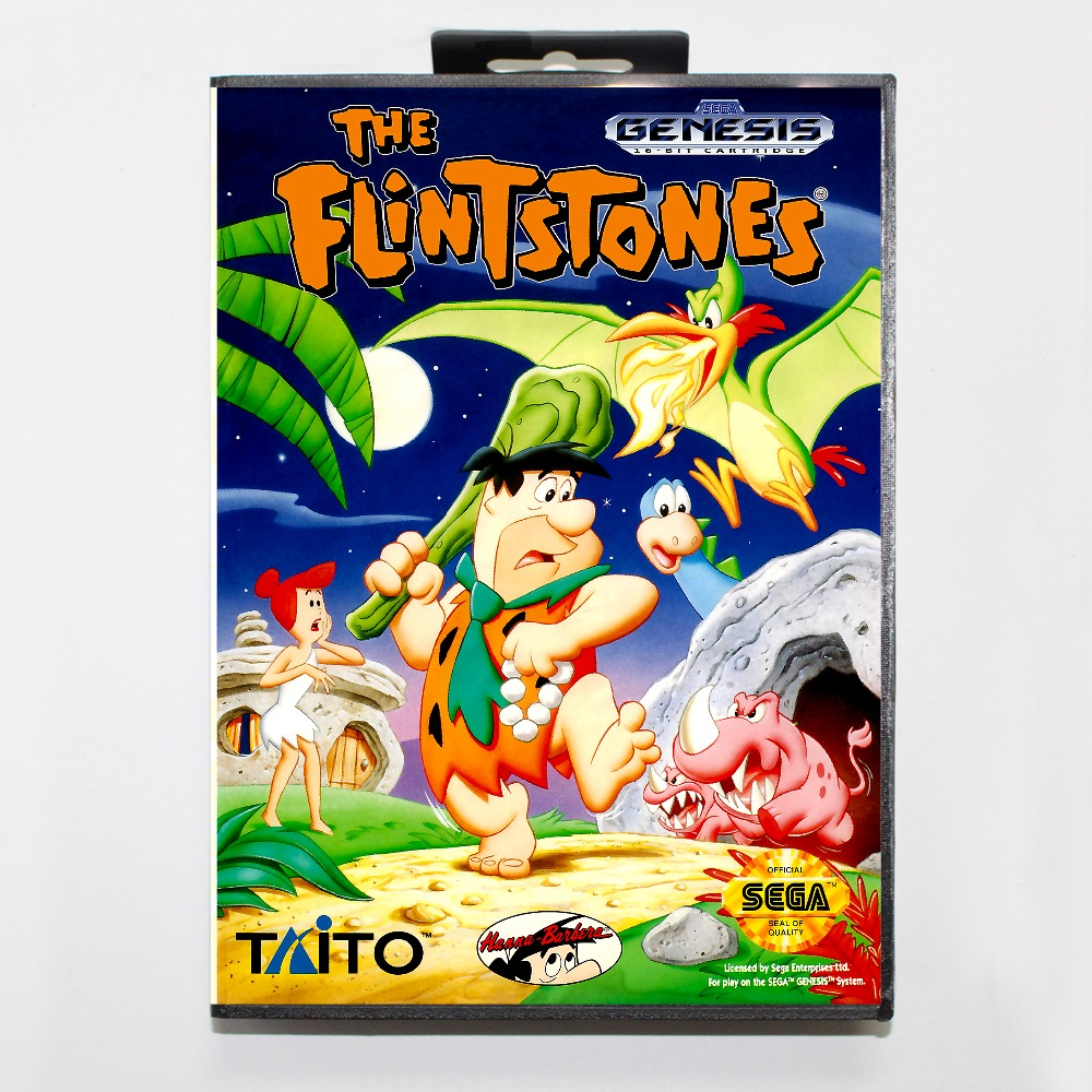 The Flintstones 16 bit MD card with Retail box for Sega MegaDrive Video Game console system