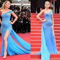 Blake Lively Cannes Festiva Celebridade Vestidos 2016 de Um Ombro Side Slit Beading Lantejoulas Cristal Side Slit Vestido de Noite