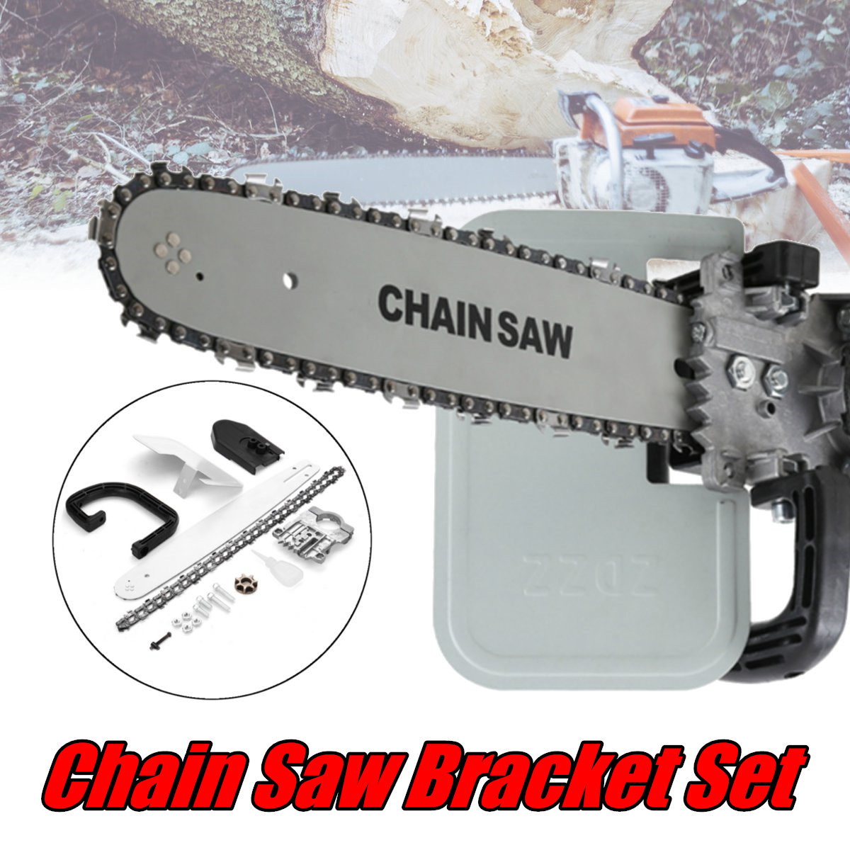 Upgrade 16 Inch DIY Chain Saw Adapter Bracket Changed Angle Grinder Into DIY Chain Saw Woodworking Tool
