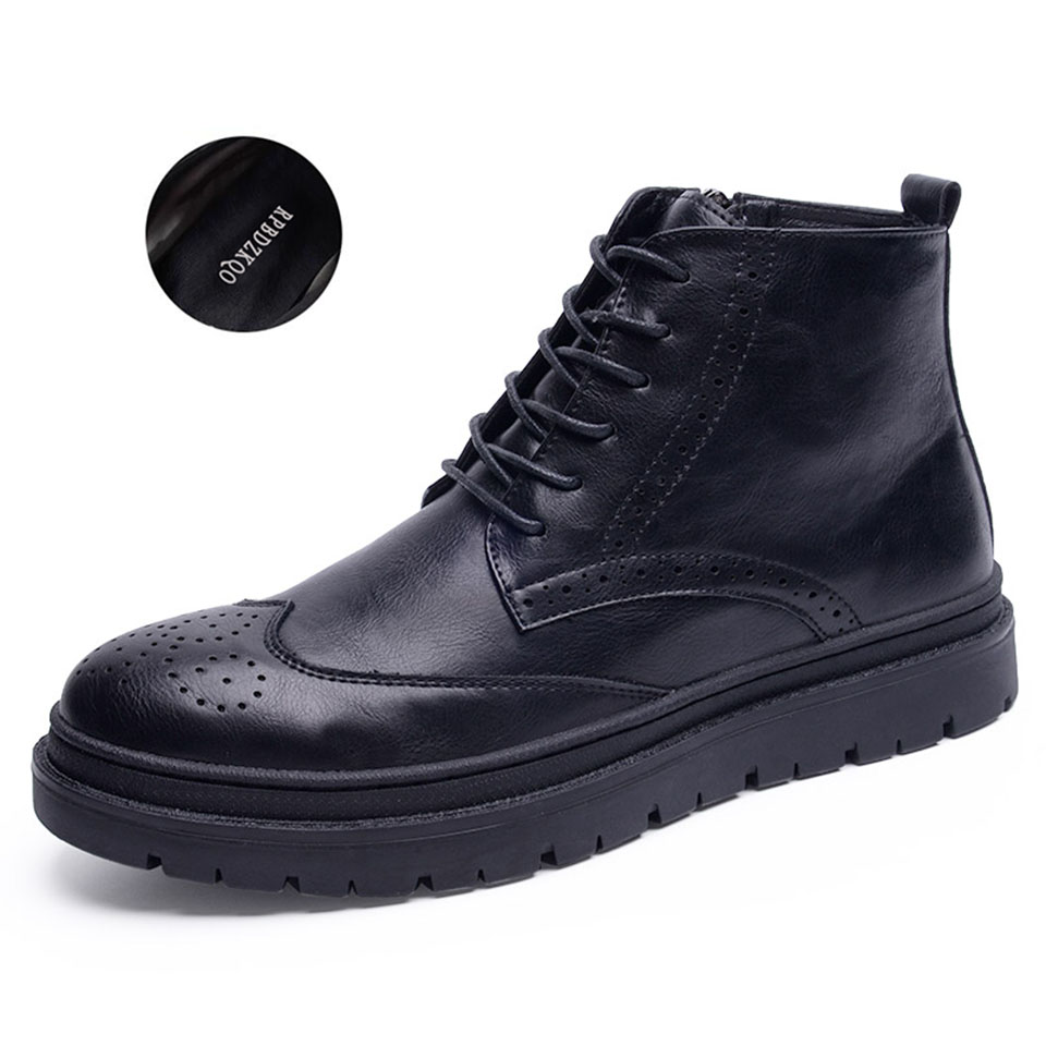 8c1ac105fe0 Wingtip High Sole Top Lace Up Fall Shoes Men Booties Zipper Ankle ...