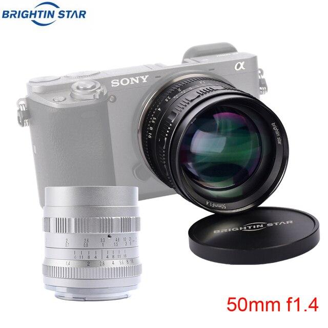 Brightin estrela 50mm f1.4 grande abertura padrão principal foco manual mf lente para fuji X A10 a20 a5 a3 X T20 t10 t3 t2 X PRO2 X E3