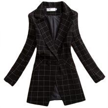 Brieuces BlackFemale spring and autumn new women jacket slim medium-long plaid long-sleeve casual suit