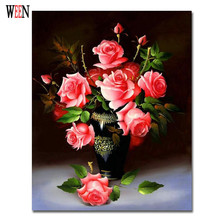 Unique Gift Coloring by Numbers Flower Oil Painting on Canvas Wall Lovely DIY Digital Decorative Pictures