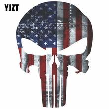YJZT 9,6 см X 13,2 см Каратель Американский США Снайпер цветной флаг череп светоотражающие наклейки для автомобиля C1-6007