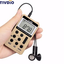Tivdio Портативный Радио FM/AM цифровой Портативный мини-ресивер с Перезаряжаемые Батарея и наушники Радио Регистраторы F9202C