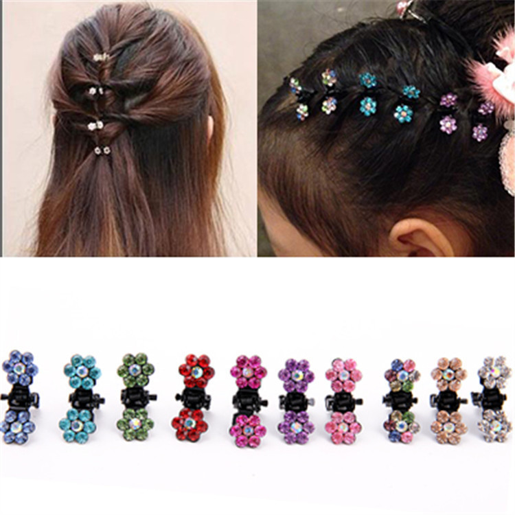 12 PCS New Cute Mini Plum Crystal Hair Claws Hairpins Children Hair Clips Kids Headwear Princess Barrette Girls Hair Accessories 1 pcs new fashion cute dimensional rose kids hairpins baby hair clips princess barrette children headwear girls hair accessories