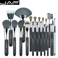 JAF Featured 20 Pcs Set Makup Brushes Genuine Natural Animal Hair Black Goat Brown Horse Pony
