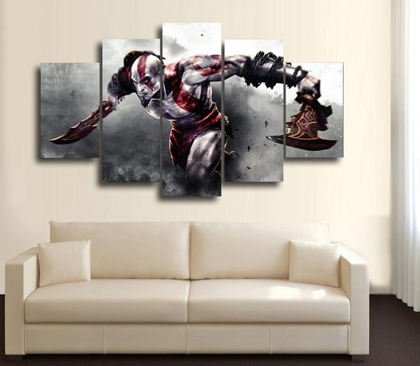 5 panel large HD printed oil painting Game God of War canvas print art modern home decor wall art picture for living room F0363