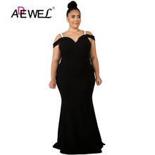 ADEWEL Plus size Sexy Spaghetti Strap Evening Bodycon Long Dress Women Cold Shoulder Party Long Dress Floor Length Dresses 5XL