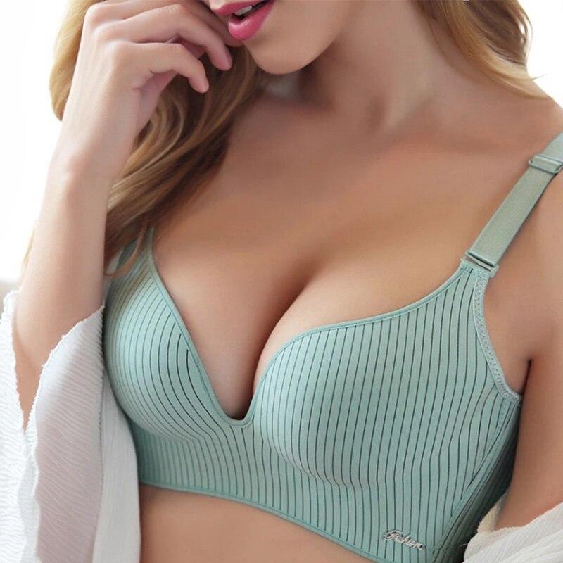2019 marca de gama alta romántico tentación Bra conjunto de moda de las mujeres rayas ropa interior Push Up Lade sujetador y bragas conjunto