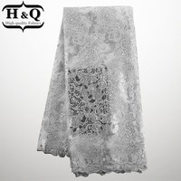 Free shipping! 2017 New Embroidery designs cotton high quality african cord lace white Color latest nigerian french lace fabric