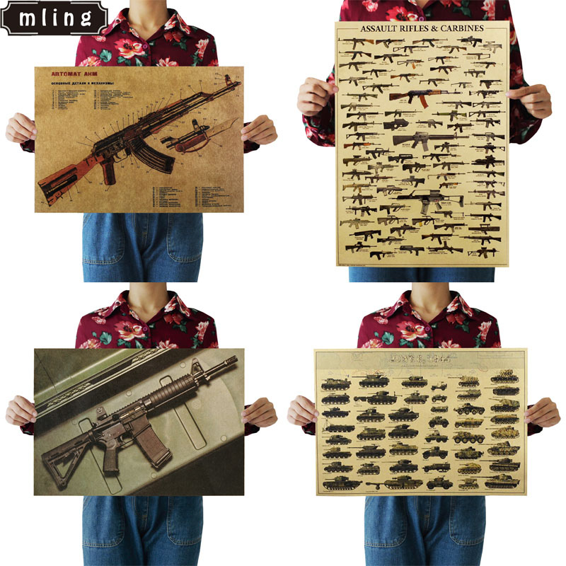 51.5x36cm World Famous Gun Tank Posters Military Fans Vintage Poster Kraft Paper Decorative Painting Retro Posters Wall Sticker