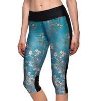 Yeni Sıcak Yüksek Bel Kadınlar Orta Buzağı Tayt Seksi Kız Spor Yoga Kırpılmış Pantolon Yüksek Elastik Mavi Nefes Kapriler S 4XL