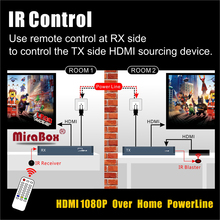 MiraBox 300m HDMI Extender IR over PowerLine Or Telephone Line 1080P PLC HDMI Over Powerline Extender IR Transmitter Receiver