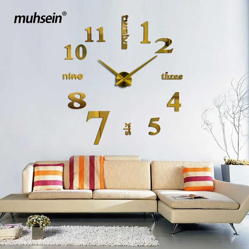 2019 muhsein 大壁時計アクリルミラー diy のクロック家の装飾リビングルームの壁のステッカー現代腕時計クォーツ freevshipping