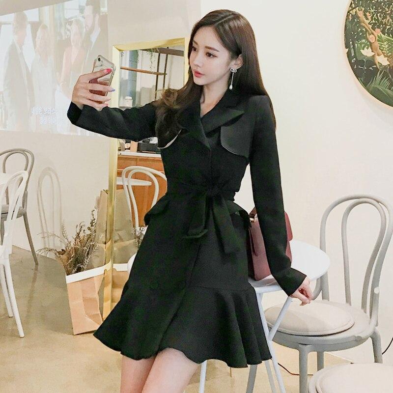 Automne printemps 2019 femmes manches longues Trench robe Vintage mode mi-longue Double-boutonnage volants Blazer robe Trench vêtements d'extérieur - 5