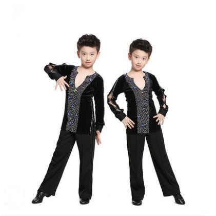 870a4dbb765c Kid Black Professional Ballroom Latin Salsa Dance Competition Costume T  Shirt Top Leotard for Boy Dancing