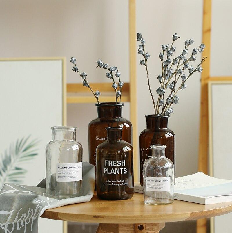Nordic Style Retro Transparent Brown Glass Bottle Bedroom Vase Desktop Photography Accessories Studio Photo Backdrop Ornamen