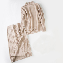 Autumn Winter Knitted 2 Piece Set Turtleneck Cashmere Sweater Suits Elastic Waist Mini Skirt 2017 Full Sleeve Casual Women Sets