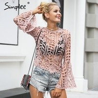 Simplee Sexy Flare Sleeve Lace Blouse Shirt Flower Hollow Out Women Blouse Autumn Streetwear Back Zipper