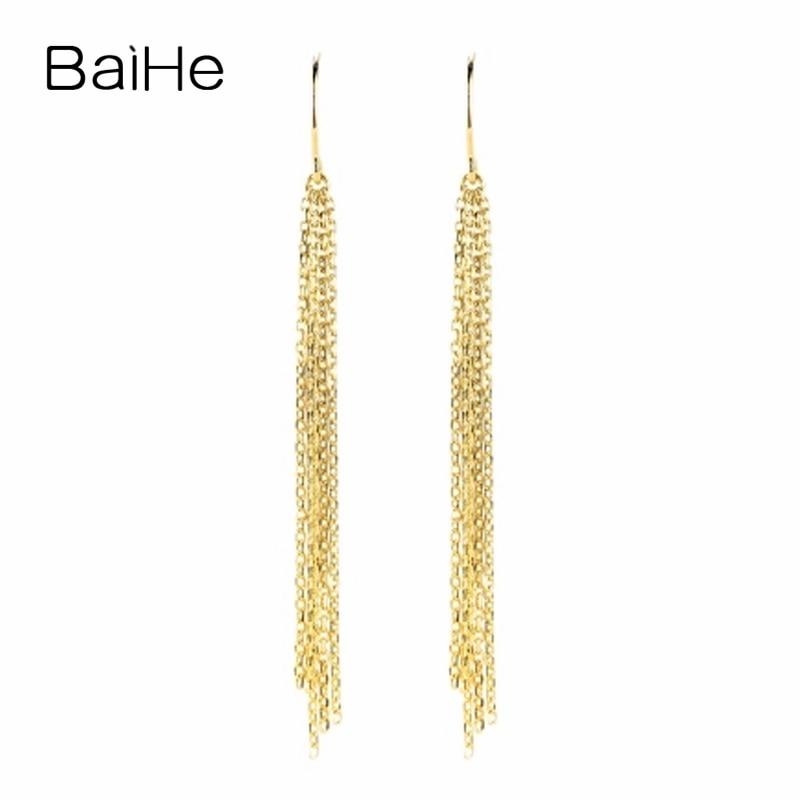 BAIHE Solid 18K Yellow Gold(AU750) Wedding & Engagement Women Trendy Fine Jewelry Gift Fashion Stud Earrings