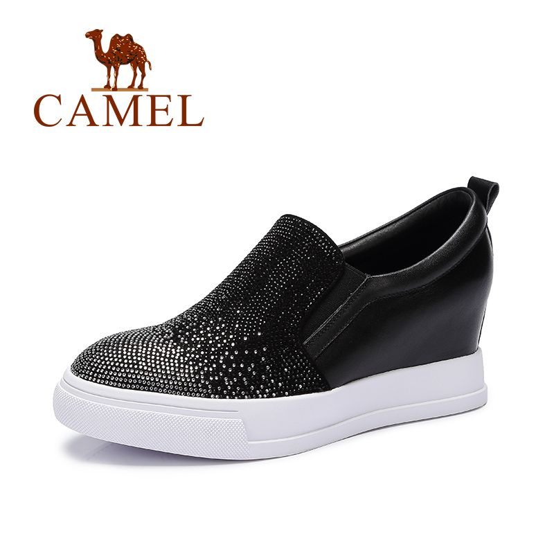 Camel 2016 new design fashion womens causal shoes slip-on leisure wild diamond deep mouth shoes wedges