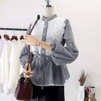 White Shirt Female Spring New Fashion Lace Lantern Sleeve Splice Stand Neck Shirts Chemise Femme Camisa