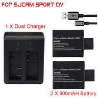 2 teile/satz 3,7 V 900mAh Batterie + Dual Batterie Ladegerät für SJCAM SJ 4000 5000 SJ4000 SJ5000 SJ6000 Kamera zubehör